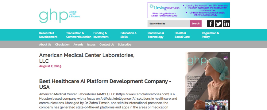AMCL Voted as Best Healthcare AI Platform Development Company – USA